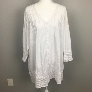 Soft Surroundings white long sleeve blouse - 2X